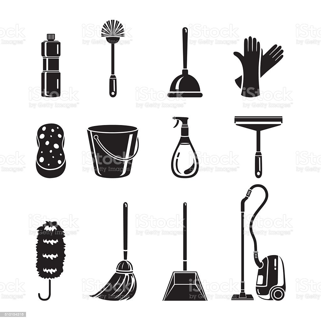 Cleaning, Home Appliances Icons Set, Monochrome vector art illustration
