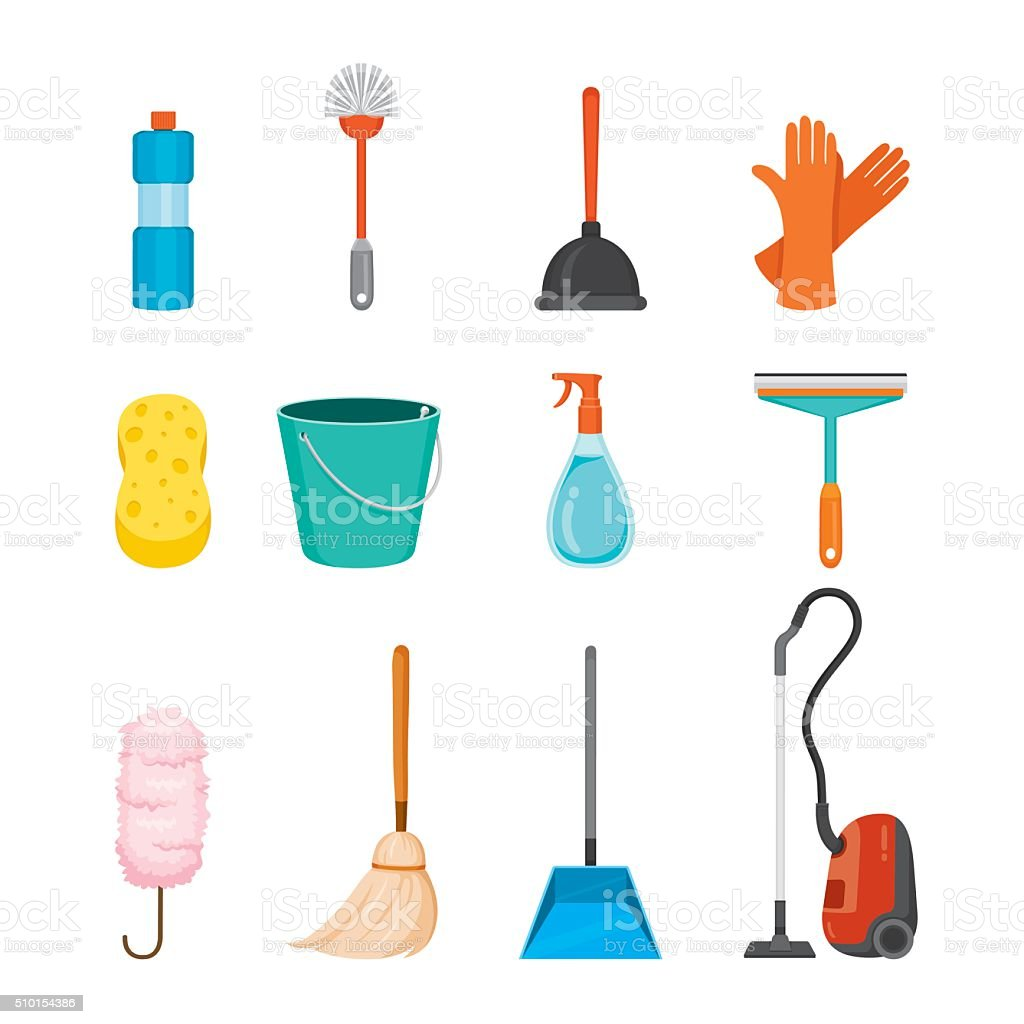 Cleaning, Home Appliances Icons Set vector art illustration
