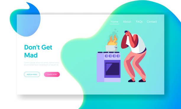 ilustrações de stock, clip art, desenhos animados e ícones de cleaning home website landing page, frightened man stand at oven with burning fire in pan, household male character housekeeping duties and chores web page. cartoon flat vector illustration, banner - burned cooking