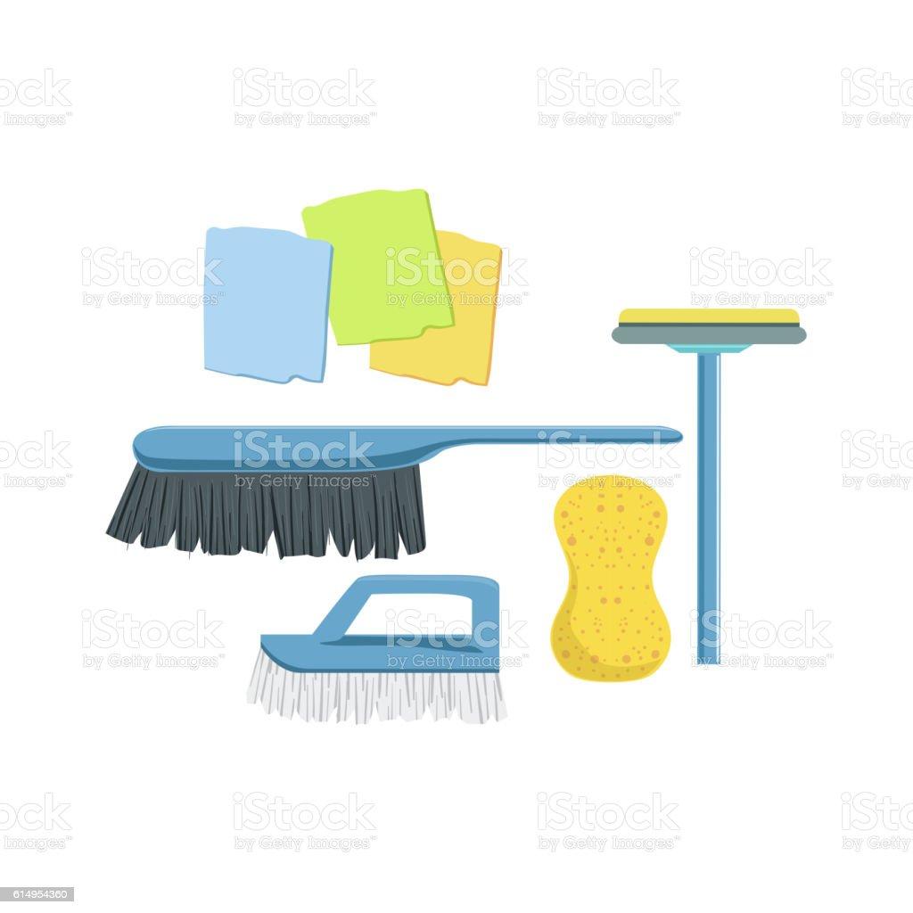 Cleaning Household Equipment Set vector art illustration