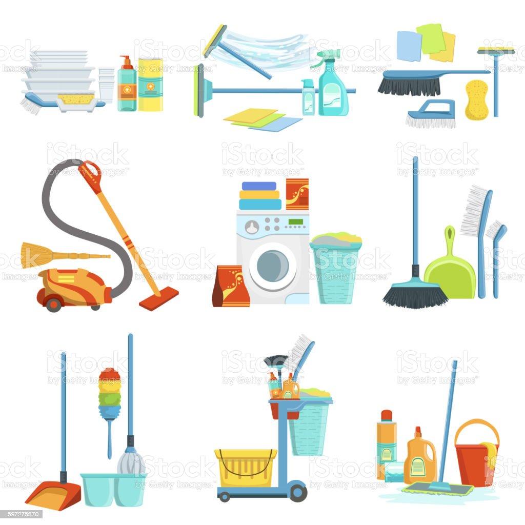 Cleaning Household Equipment Sets vector art illustration