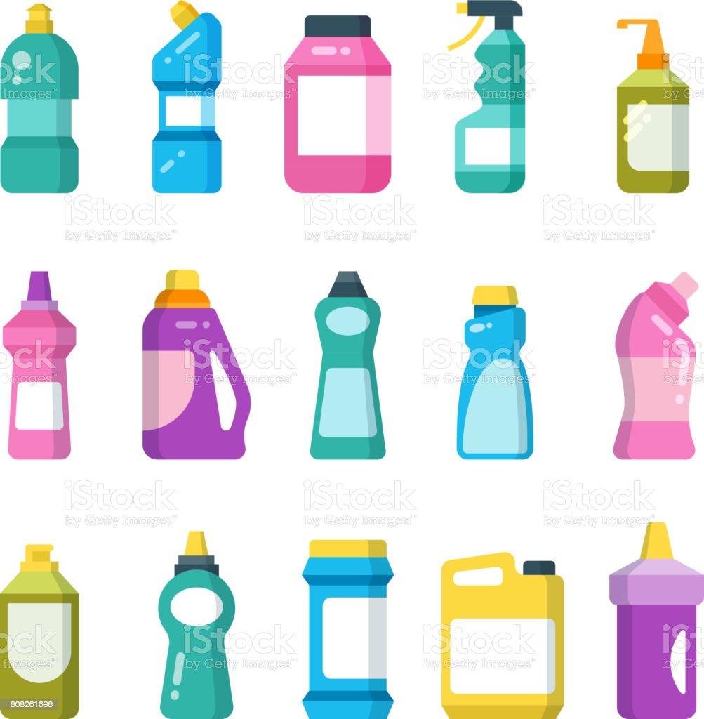 Reinigung Produkte für den Haushalt. Chemische Reinigungsmittel-Flaschen. Sanitärcontainer Vektor-Satz – Vektorgrafik