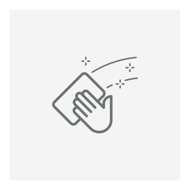 stockillustraties, clipart, cartoons en iconen met pictogram schoonmaken - net