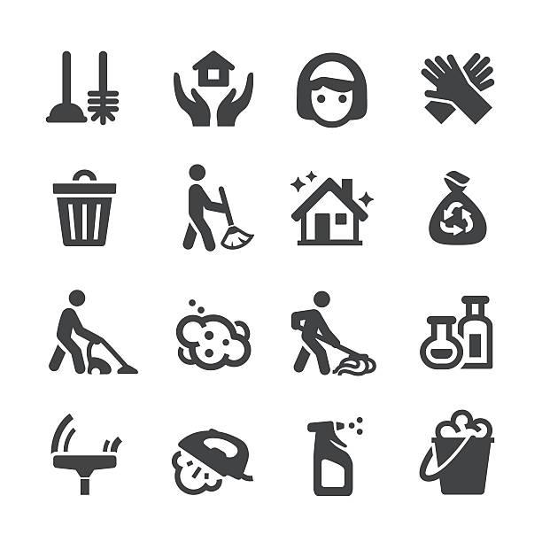 illustrazioni stock, clip art, cartoni animati e icone di tendenza di pulizia icone-acme serie - cameriera