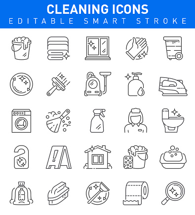 Cleaning Icons. Editable stroke Collection