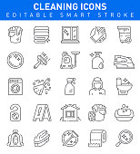 Cleaning Vector Icon set with housework, cleaning, Iron, Washing machine symbols