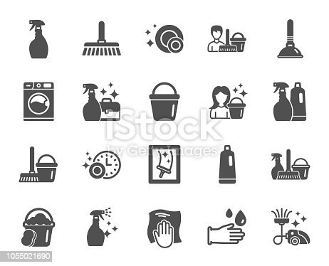 istock Cleaning icons. Laundry, Sponge and Vacuum. Vector 1055021690
