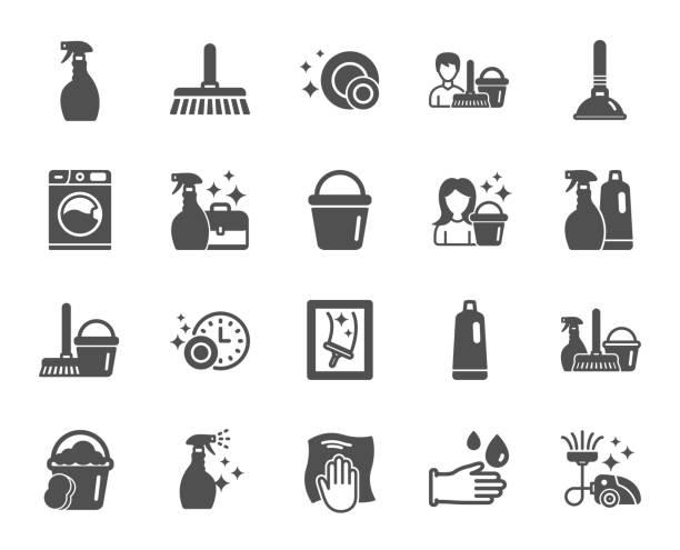 stockillustraties, clipart, cartoons en iconen met het reinigen van pictogrammen. wasserij, spons en vacuüm. vector - emmer