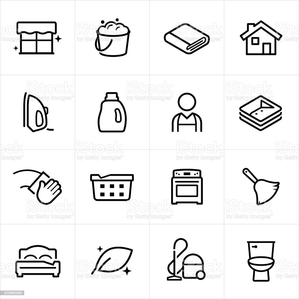 Cleaning Icons - Line Style vector art illustration