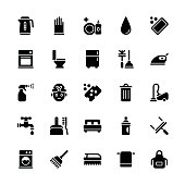 Cleaning icons - Regular Glyph Vector EPS File.