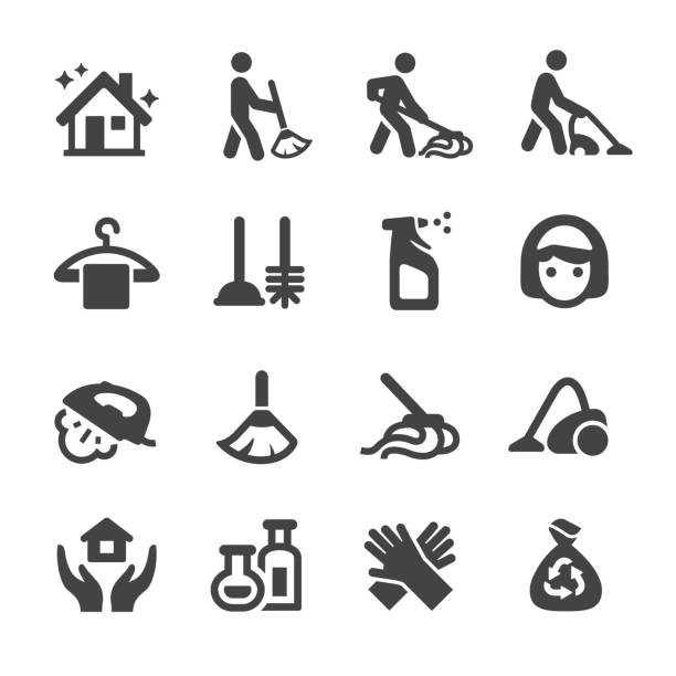 ilustraciones, imágenes clip art, dibujos animados e iconos de stock de limpieza juego de iconos - serie acme - tareas domésticas
