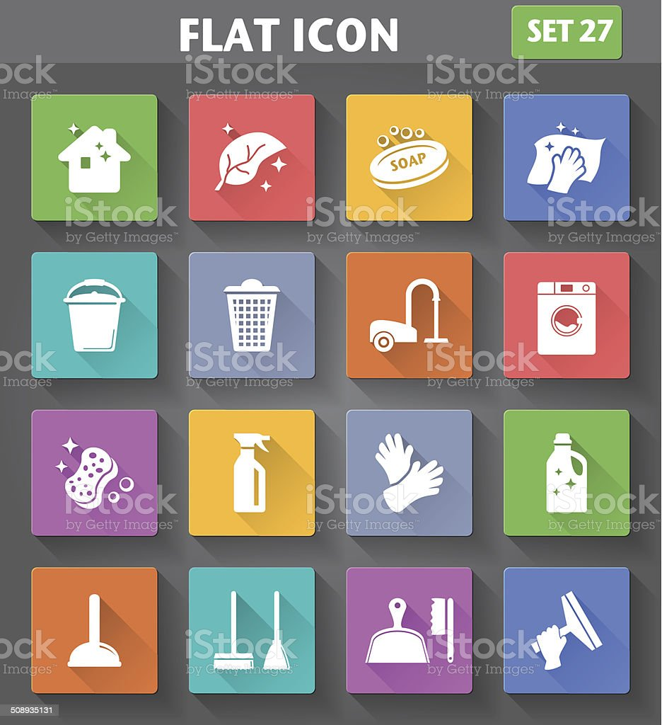 Cleaning Icons set in flat style vector art illustration