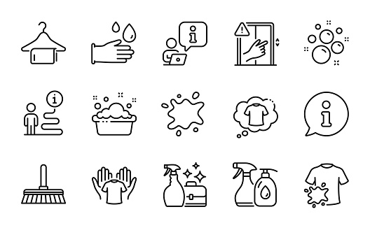 Cleaning icons set. Included icon as T-shirt, Clean bubbles, Dirty t-shirt. Vector
