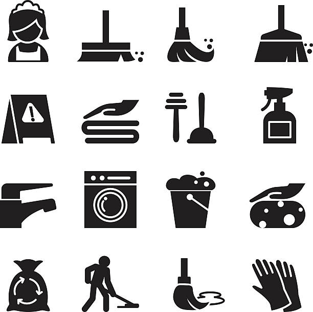 Cleaning icons set vector art illustration