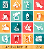 Cleaning Tools set of flat icons and symbols. 8 EPS.