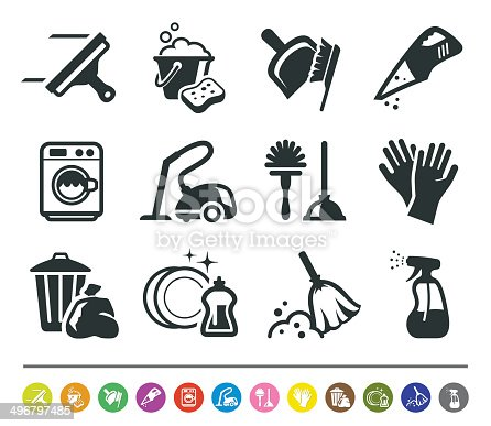 istock Cleaning icons | siprocon collection 496797485