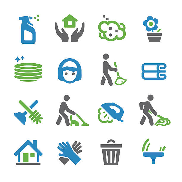 cleaning icons - spry series - hausarbeit stock-grafiken, -clipart, -cartoons und -symbole