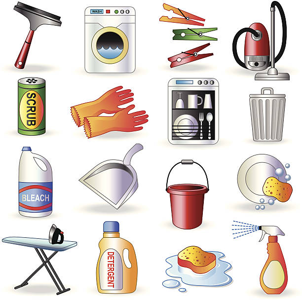 cleaning icons - bleach stock illustrations