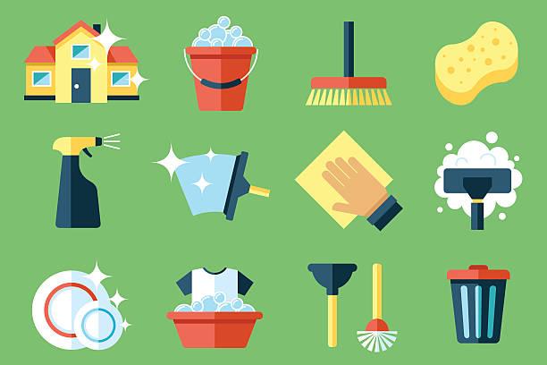 illustrations, cliparts, dessins animés et icônes de icônes de nettoyage - raclette