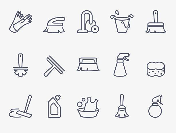 stockillustraties, clipart, cartoons en iconen met cleaning icons - emmer