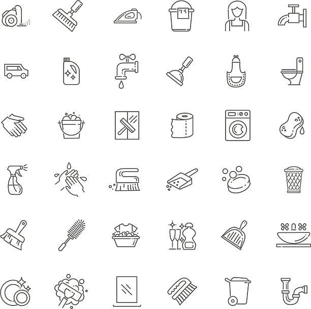 ilustrações, clipart, desenhos animados e ícones de ícones de limpeza - afazeres domésticos