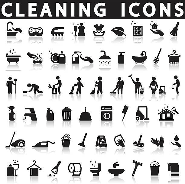 ilustraciones, imágenes clip art, dibujos animados e iconos de stock de iconos de limpieza - tareas domésticas