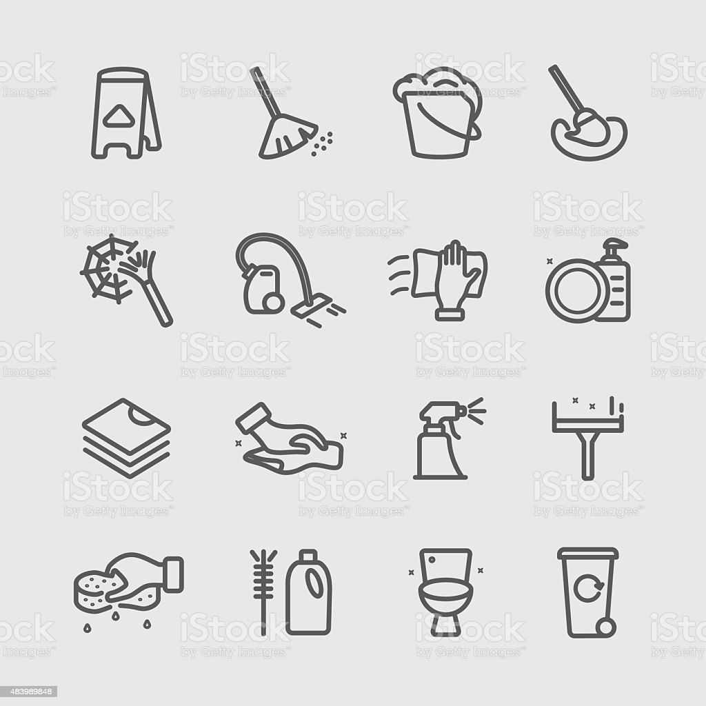 Cleaning in house line icon vector art illustration