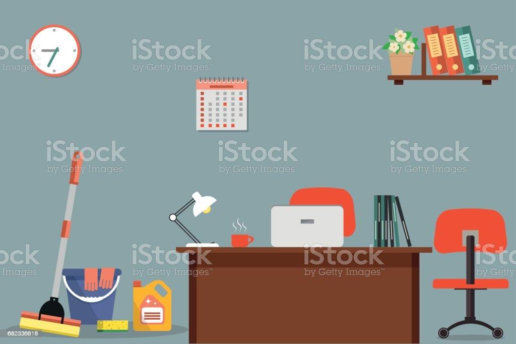 Cleaning in office royaltyfri cleaning in office-vektorgrafik och fler bilder på blomma