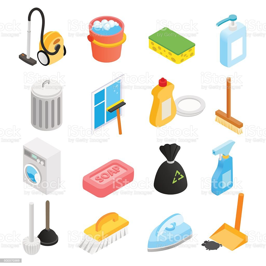 Cleaning isometric 3d icons vector art illustration
