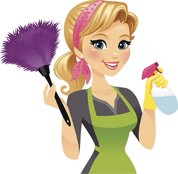 cleaning lady - heyheydesigns stock illustrations