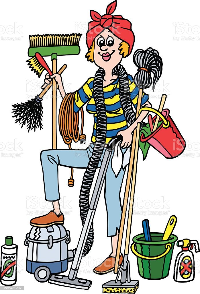 Cleaning lady stock vector art more images of 2015 for Conchita menage