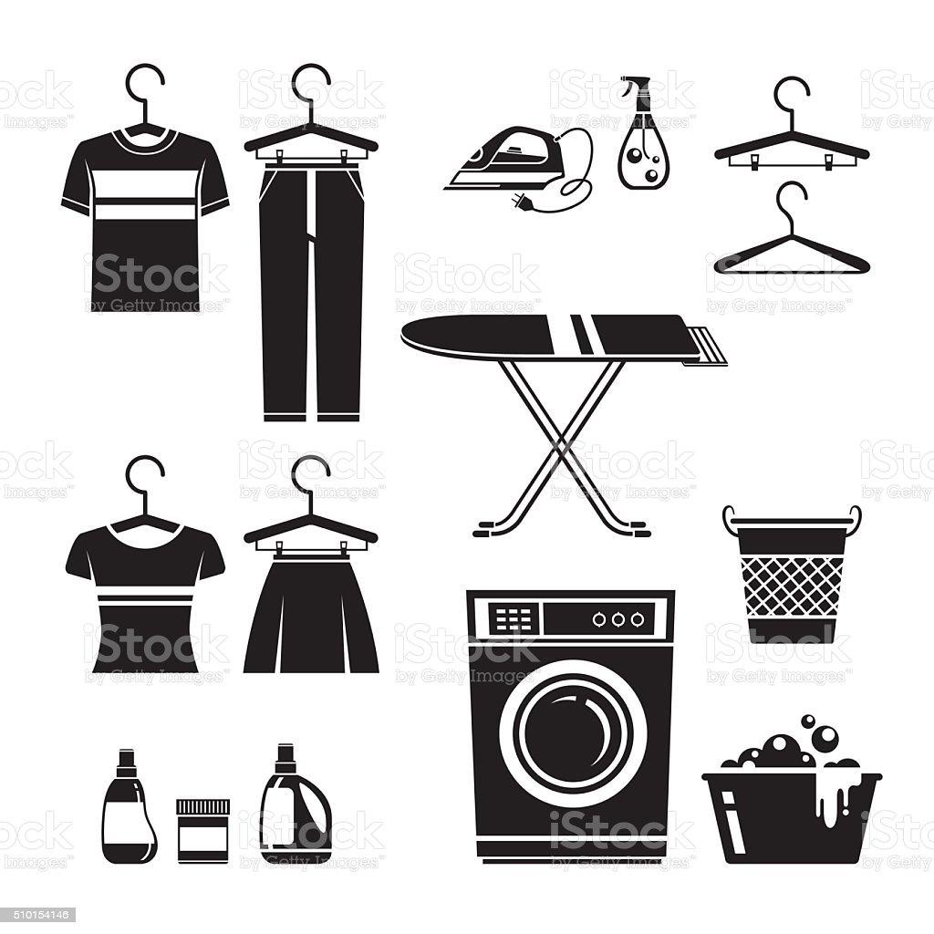 Cleaning, Laundry Icons Set, Monochrome vector art illustration