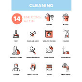 Cleaning - line design icons set. High quality black pictogram. Gloves, bucket, mop, clean and shiny, washing machine, vacuum cleaner, window scraper, soap sponge, toilet brush, hand and duster, tap