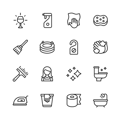 Cleaning Line Icons. Editable Stroke. Pixel Perfect. For Mobile and Web. Contains such icons as Glass, Dishwasher, Dishes, Detergent, Wiping Cloth, Washing Sponge, Mop, Plates, Hand Washing, Toilet, Kitchen, Bathroom, Iron, Toilet Paper, Bath, Tub.
