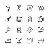 16 Cleaning Outline Icons.