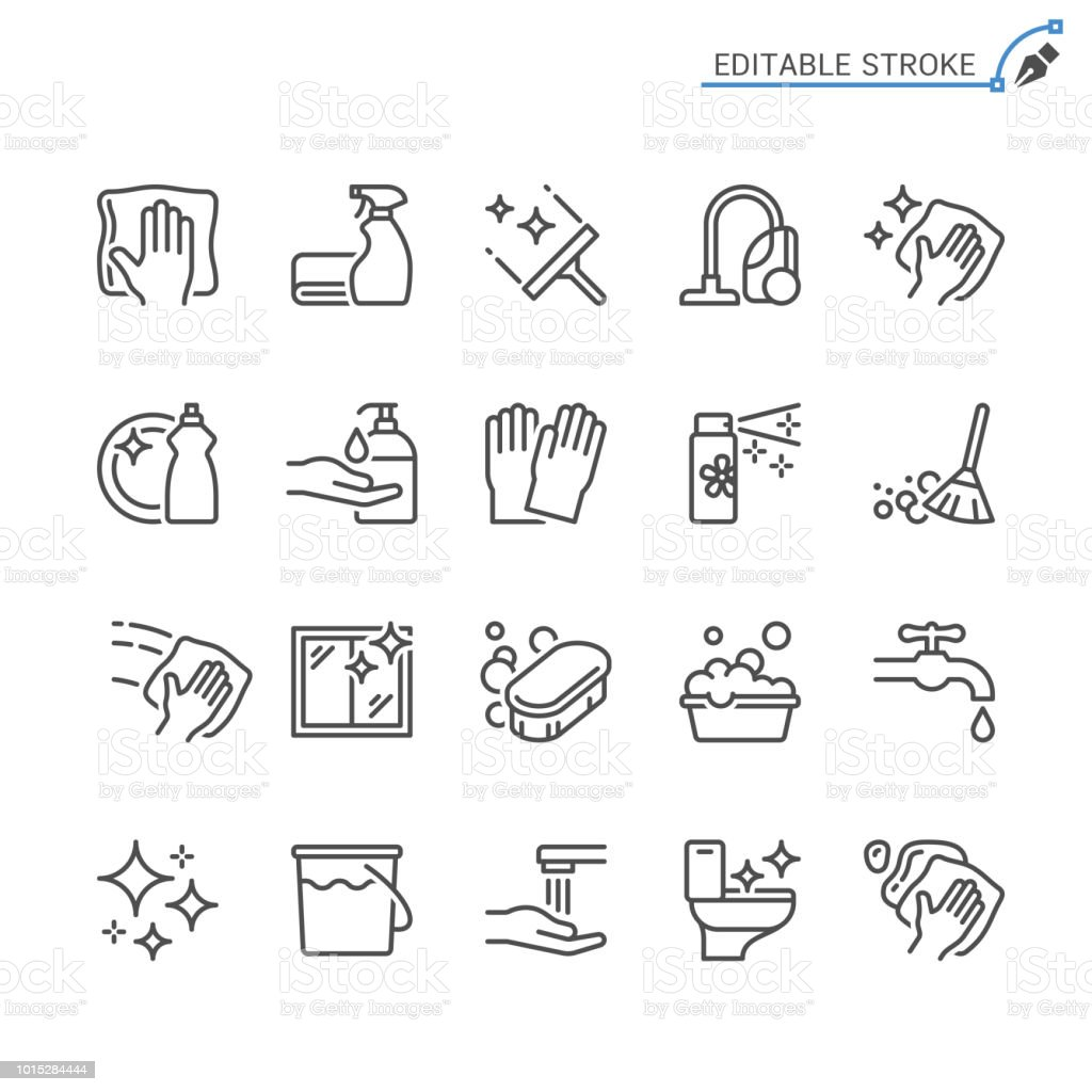 Cleaning line icons. Editable stroke. Pixel perfect. vector art illustration