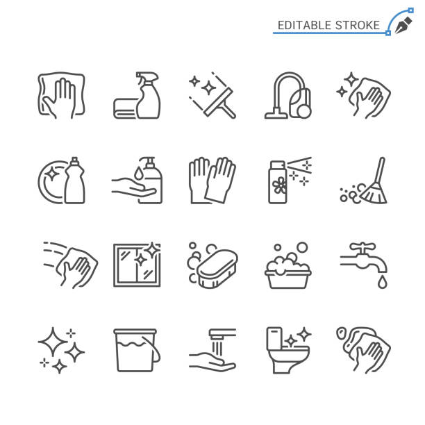 cleaning line icons. editable stroke. pixel perfect. - zbiornik wytworzony przedmiot stock illustrations