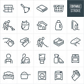 A set of cleaning icons that include editable strokes or outlines using the EPS vector file. The icons include people cleaning, a maid, house work, house cleaning, cleaning supplies, clean laundry, house appliances and other related icons.