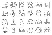 istock Cleaning line icons. Laundry, Sponge and Vacuum. Vector 1188680469