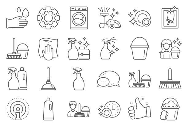 ilustrações, clipart, desenhos animados e ícones de ícones da linha de limpeza. lavanderia, esponja e vácuo. vetor - higiene
