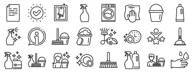 Cleaning line icons. Laundry, Sponge and Vacuum. Vector
