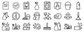 istock Cleaning line icons. Laundry, Sponge and Vacuum. Vector 1215005698