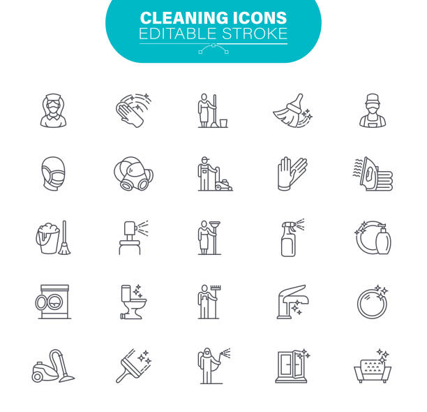 Cleaning Line Icons. Set contains symbol as Housework; Washing, Plunger; Dusting, Laundry, Illustration vector art illustration
