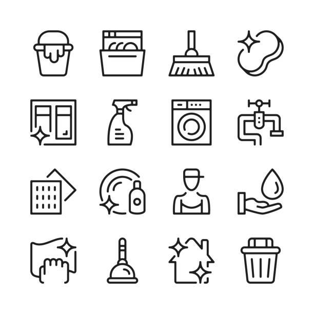 ilustrações, clipart, desenhos animados e ícones de ícones da linha da limpeza ajustados. conceitos modernos do projeto gráfico, coleção linear simples dos elementos do esboço. design de linha fina. linha ícones do vetor - higiene