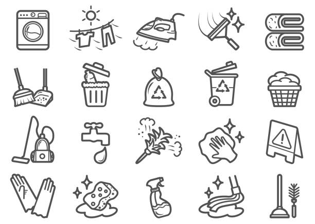 ilustrações, clipart, desenhos animados e ícones de ícones da linha da limpeza ajustados - afazeres domésticos