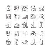 Cleaning line icons set.