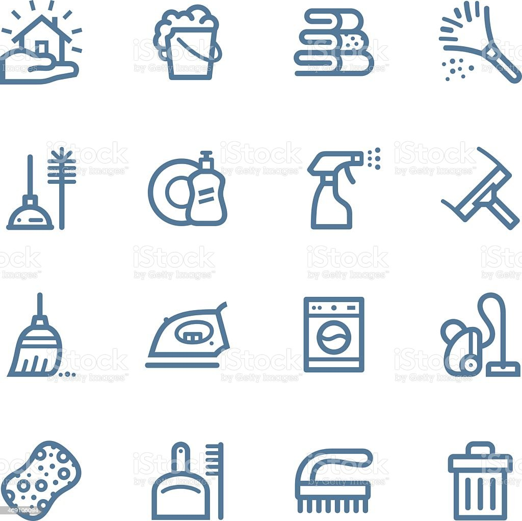Cleaning Line icons vector art illustration