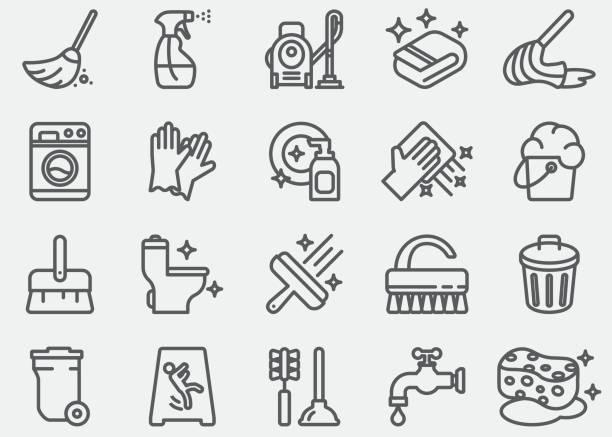 ilustrações, clipart, desenhos animados e ícones de linha de limpeza de ícones - afazeres domésticos