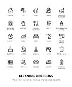 Cleaning Line Icons Vector EPS 10 File, Pixel Perfect Icons.