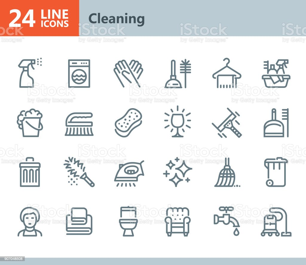 Cleaning - line vector icons vector art illustration